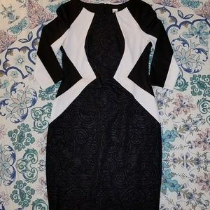EUC Sangria Geometric Color Block Textured Dress